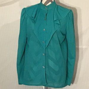 Vintage 1970's Turquoise Ruffle  Secretary Blouse